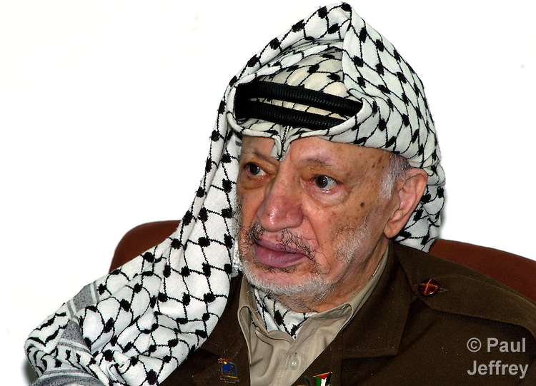 Yasser Arafat, president of the Palestinian National Authority, remained popular among Palestinians despite allegations of inefficiency and corruption in his administration. A Nobel laureate, he died in 2004.