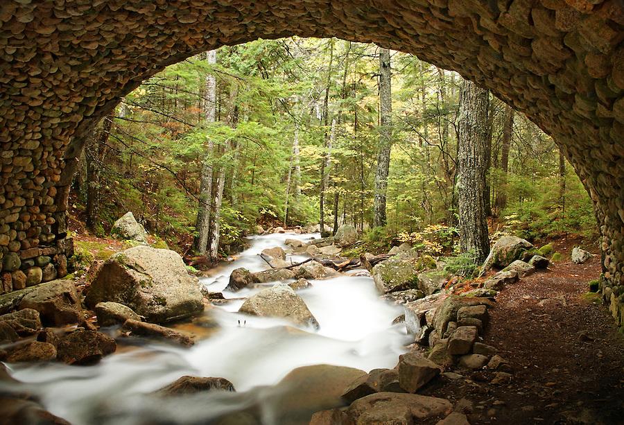 Jordan Stream flowing under carriage road bridge, Mount Desert Island, Hancock County, Acadia National Park, Maine, USA