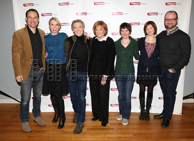 Jonathan Walker, Julie Halston, playwright Charles Busch, Cynthia Harris, Keira Keeley, Mary Bacon and director Carl Andress attending the Meet & Greet for the Primary Stages production of 'The Tribute Artist' at their rehearsal studios  on January 7, 2014 in New York City.