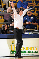 28 January 2012:  FIU Head Coach Cindy Russo signals to her players in the second half as the FIU Golden Panthers defeated the Western Kentucky University Hilltoppers, 60-56, at the U.S. Century Bank Arena in Miami, Florida.