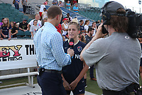 Cary, North Carolina  - Saturday August 19, 2017: Abby Dahlkemper is interviewed by Lifetime broadcaster Dalen Cuff after a regular season National Women's Soccer League (NWSL) match between the North Carolina Courage and the Washington Spirit at Sahlen's Stadium at WakeMed Soccer Park. North Carolina won the game 2-0.
