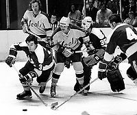 California Golden Seals vs. North Stars: Stars #3 Fred Barrett, & goalie Gilles Gilbert, battle Seals Walt McKechnie and Joey Johnston <br /> (1973 photo/Ron Riesterer)