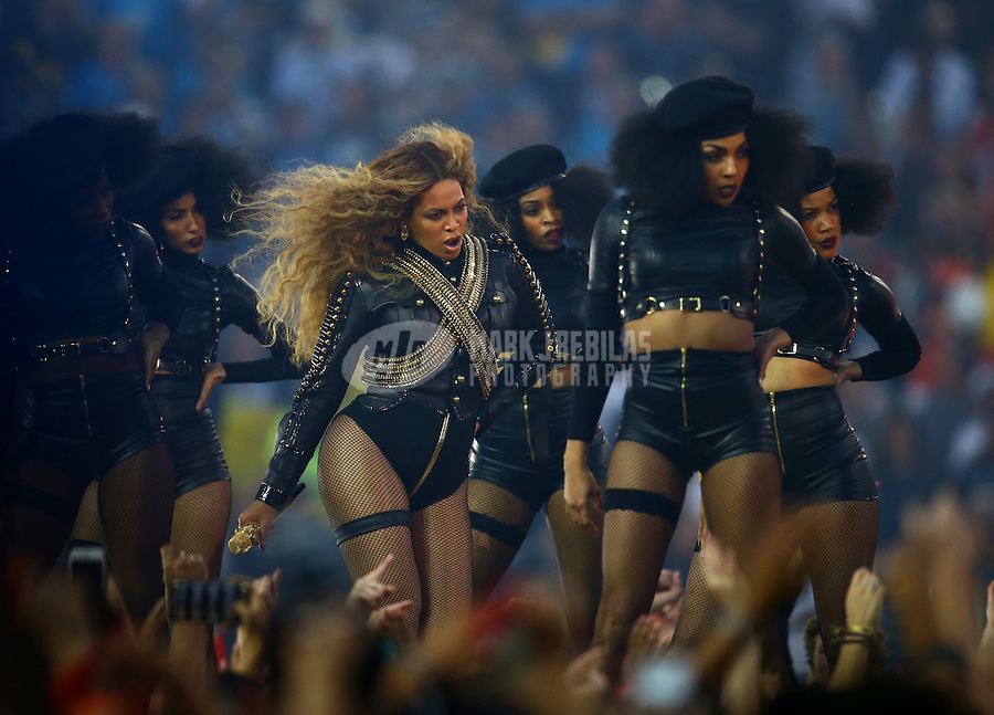 Feb 7, 2016; Santa Clara, CA, USA; Recording artist Beyonce performs with her dancers during the half time show of the Denver Broncos game against the Carolina Panthers in Super Bowl 50 at Levi's Stadium. Mandatory Credit: Mark J. Rebilas-USA TODAY Sports