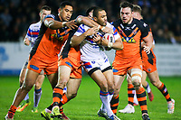 Picture by Alex Whitehead/SWpix.com - 27/04/2018 - Rugby League - Betfred Super League - Castleford Tigers v Wakefield Trinity - Mend-A-Hose Jungle, Castleford, England - Wakefield's Bill Tupou is tackled by Castleford's Matt Cook.