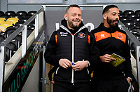 Blackpool's Jay Spearing, left, and Blackpool's Liam Feeney prior to the game<br /> <br /> Photographer Chris Vaughan/CameraSport<br /> <br /> The EFL Sky Bet League One - Burton Albion v Blackpool - Saturday 16th March 2019 - Pirelli Stadium - Burton upon Trent<br /> <br /> World Copyright &copy; 2019 CameraSport. All rights reserved. 43 Linden Ave. Countesthorpe. Leicester. England. LE8 5PG - Tel: +44 (0) 116 277 4147 - admin@camerasport.com - www.camerasport.com