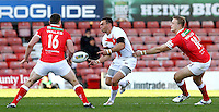 PICTURE BY ALEX WHITEHEAD/SWPIX.COM - Rugby League - Autumn International Series - Wales vs England - Glyndwr University Racecourse Stadium, Wrexham, Wales - 27/10/12 - England's Kevin Sinfield passes the ball.