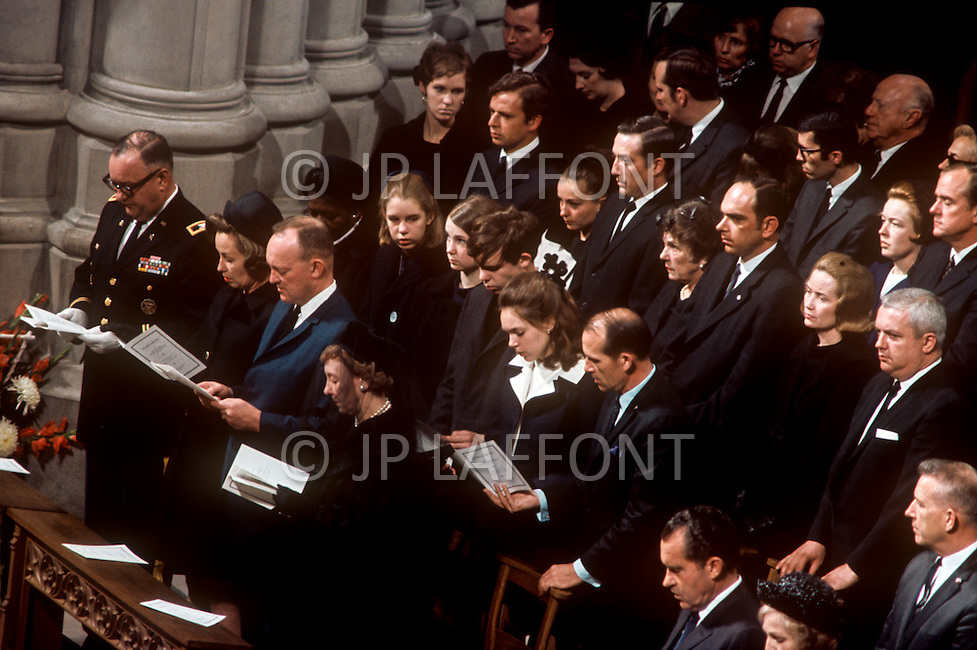 Washington National Cathedral - March 31, 1969. Barbara Thompson with husband John Eisenhower, former First Lady Mamie Geneva Eisenhower, and standing behind is U.S. President Richard Nixon's daughter Julie Nixon with husband David Eisenhower, son of John Eisenhower, at the funeral procession of former U.S. President Dwight Eisenhower. He (October 14, 1890 - March 28, 1969) was the 34th President of the United States from 1953 until 1961, was a five-star general in the United States Army during World War II and was the first supreme commander of NATO.