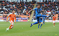 Gillingham's Max Ehmer clears despite the attentions of Blackpool's Chris Long<br /> <br /> Photographer Kevin Barnes/CameraSport<br /> <br /> The EFL Sky Bet League One - Blackpool v Gillingham - Saturday 4th May 2019 - Bloomfield Road - Blackpool<br /> <br /> World Copyright © 2019 CameraSport. All rights reserved. 43 Linden Ave. Countesthorpe. Leicester. England. LE8 5PG - Tel: +44 (0) 116 277 4147 - admin@camerasport.com - www.camerasport.com