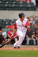 Arkansas Travelers designated hitter Alex Yarbrough (7) at bat during a game against the San Antonio Missions on May 24, 2014 at Dickey-Stephens Park in Little Rock, Arkansas.  Arkansas defeated San Antonio 4-2.  (Mike Janes/Four Seam Images)