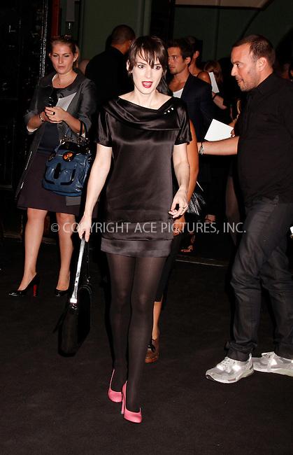 WWW.ACEPIXS.COM . . . . .  ....September 8 2008, New York City....Actress Winona Ryder at the Marc Jacobs Spring 2009 at the NY State Armory on September 8 2008 in New York City....Please byline: AJ Sokalner - ACEPIXS.COM.... *** ***..Ace Pictures, Inc:  ..(212) 243-8787 or (646) 769 0430..e-mail: picturedesk@acepixs.com..web: http://www.acepixs.com