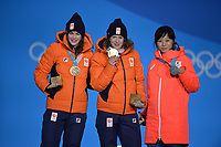 OLYMPIC GAMES: PYEONGCHANG: 13-02-2018, Medals Plaza, Victories Ceremony, Podium 1500m Ladies Long Track Speed Skating, Miho Takagi (JPN), Ireen Wüst (NED), Marrit Leenstra (NED), ©photo Martin de Jong