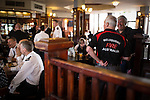 © Joel Goodman - 07973 332324 . 02/09/2013 . Bury , UK . Fire service personnel from far afield attend and join fellow firefighters in the pub after the service . The funeral of fireman Stephen Hunt at Bury Parish Church today (Tuesday 3rd September 2013) . Stephen Hunt died whilst tackling a blaze at Paul's Hair World in Manchester City Centre in July 2013 . Photo credit : Joel Goodman