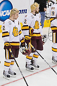 Mike Connolly (Duluth - 22), Jack Connolly (Duluth - 12) - The University of Minnesota-Duluth defeated the University of Notre Dame Fighting Irish 4-3 in their 2011 Frozen Four Semi-Final on Thursday, April 7, 2011, at the Xcel Energy Center in St. Paul, Minnesota.
