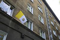 la città ideale progettata per gli operai della vicina acciaieria negli anni 50 bandiera dello stato pontificio Warsaw, Nowa Huta, the socialist ideal city designed for the workers of the nearby steel mill in the 50