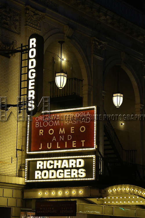 Theatre Marquee for the Broadway Opening Night Performance Curtain Call for 'Romeo and Juliet' at the Richard Rodgers Theatre in New York City on September 19, 2013.