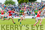 Barry John Keane Kerry  in action against Stephen Cronin Cork in the Munster Senior Football Final at Fitzgerald Stadium on Sunday.