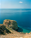 GREECE, Patmos, Dodecanese Island, pigeon rock or peristeronas and the Agean Sea