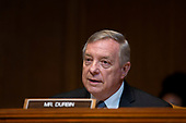 United States Senator Dick Durbin (Republican of Illinois) speaks during the U.S. Senate Committee on Appropriations regarding FAA oversight on Capitol Hill in Washington D.C., U.S. on July 31, 2019.<br /> <br /> Credit: Stefani Reynolds / CNP