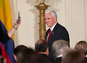 United States Vice President Mike Pence arrives at a joint news conference with U.S. President Donald J. Trump and President Juan Manuel Santos of Colombia at the White House in Washington, DC, May 18, 2017. <br /> Credit: Chris Kleponis / CNP