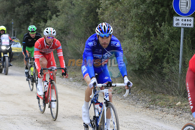 The breakaway group including Thibaut Pinot (FRA) FDJ on gravel sector 3 Radi during the 2017 Strade Bianche running 175km from Siena to Siena, Tuscany, Italy 4th March 2017.<br /> Picture: Eoin Clarke | Newsfile<br /> <br /> <br /> All photos usage must carry mandatory copyright credit (&copy; Newsfile | Eoin Clarke)