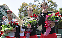 STANFORD, CA - April 9, 2011:  Seniors Hilary Barte, Carolyn McVeigh, and Jennifer Yen before Stanford's 5-2 victory over Washington at Stanford, California on April 9, 2011.