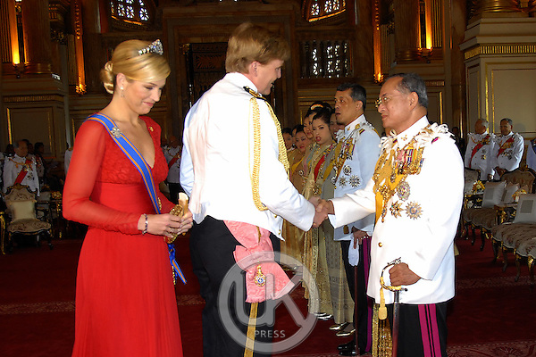 Crown Prince Willem-Alexander & Crown Princess Maxima of Holland & foreign monarchs express their best wishes to His Majesty at the Anda Samakhom Throne Hall during the celebrations to mark the 60th anniversary of Thai King Bhumibol Adulyadej's accession to the throne...Pool Picture supplied by UK Press Ltd