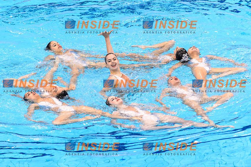 PORTUGAL POR <br /> COSTA Barbara BAPTISTA Ana Isabel MARTINS Maria Do Carmo FARIA Filipa VIEIRA Cheila GONCALVES Maria Beatriz GONCALVES Maria M. GAMA Beatriz <br /> Team Free Preliminary  <br /> London, Queen Elizabeth II Olympic Park Pool <br /> LEN 2016 European Aquatics Elite Championships <br /> Synchronized Swimming <br /> Day 03 10-05-2016<br /> Photo Andrea Staccioli/Deepbluemedia/Insidefoto