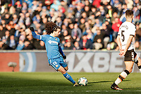 8th February 2020; Coliseum Alfonso Perez, Madrid, Spain; La Liga Football, Club Getafe Club de Futbol versus Valencia; Marc Cucurella (Getafe CF)  in shooting action during the match