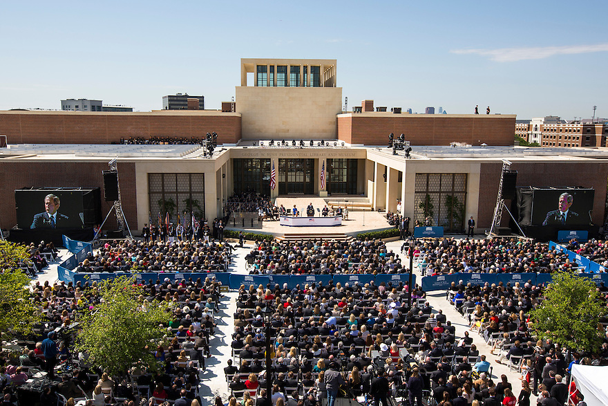 Former President George W Bush speaks at the dedication of the George W. Bush presidential library on the campus of Southern Methodist University in Dallas.