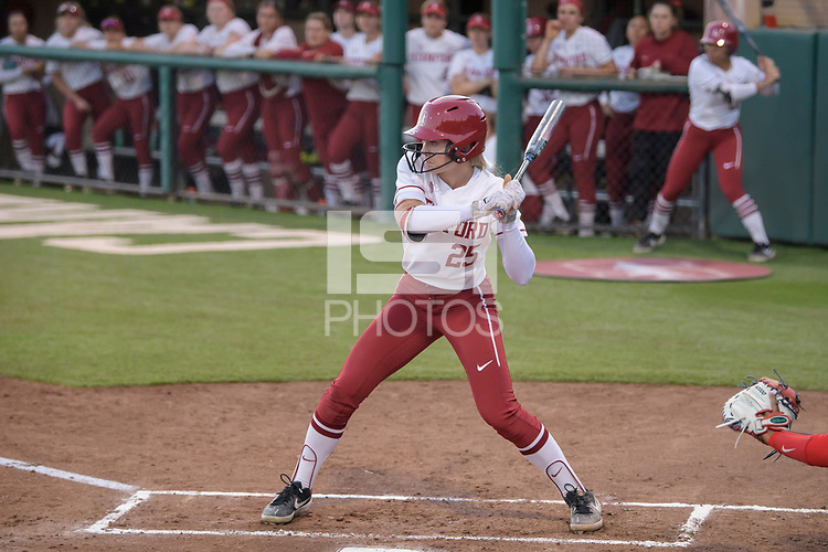 STANFORD, CA -- February 18, 2020. The Stanford Cardinal women's softball team defeats the Fresno State Bulldogs 7-3 at Stanford's Smith Family Stadium.