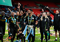 1st March 2020; Wembley Stadium, London, England; Carabao Cup Final, League Cup, Aston Villa versus Manchester City; Riyad Mahrez of Manchester City with the EFL Cup Trophy