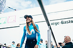 Movistar Team Women at team presentation before the 2019 Liège-Bastogne-Liège Femmes,  running 138.5km from Bastogne to Liege, Belgium. 27th April 2019<br /> Picture: ASO/Thomas Maheux | Cyclefile<br /> All photos usage must carry mandatory copyright credit (© Cyclefile | ASO/Thomas Maheux)