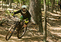 NWA Democrat-Gazette/BEN GOFF @NWABENGOFF<br /> Zuzanna Sitek races Saturday, Aug. 18, 2018, during the Eureka Springs round of the Arkansas Enduro Series at Lake Leatherwood City Park. The event continues Sunday with stages at the Passion Play trails and an urban downhill leg through downtown Eureka Springs. The fifth and final race of the Arkansas Enduro Series season takes place Sept. 22 at the Coler Mountain Bike Preserve in Bentonville. Enduro is a type of mountain bike race with multiple time trial stages that are mostly downhill and technical. The downhill stages are linked together by untimed transition stages or shuttle buses.