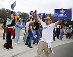 Sen. Barrack Obama supporters rally in Austin, Texas on February 23, 2007.