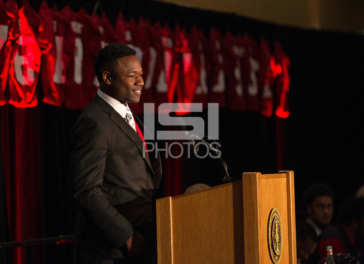 STANFORD, CA - DECEMBER 7, 2014-- Ty Montgomery, co Valuable Football Player 2014,  during the Football team banquet.