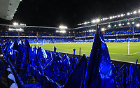 29th October 2019; Goodison Park, Liverpool, Merseyside, England; English Football League Cup, Carabao Cup Football, Everton versus Watford; a sea of blue flags laid out on seats around the stadium prior to the match - Strictly Editorial Use Only. No use with unauthorized audio, video, data, fixture lists, club/league logos or 'live' services. Online in-match use limited to 120 images, no video emulation. No use in betting, games or single club/league/player publications