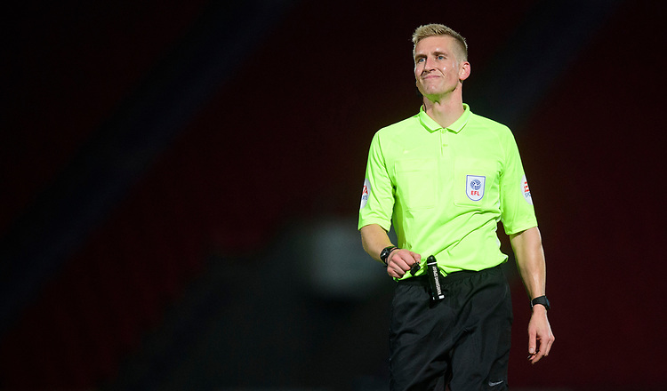 Referee Scott Oldham<br /> <br /> Photographer Chris Vaughan/CameraSport<br /> <br /> EFL Leasing.com Trophy - Northern Section - Group H - Doncaster Rovers v Lincoln City - Tuesday 3rd September 2019 - Keepmoat Stadium - Doncaster<br />  <br /> World Copyright © 2018 CameraSport. All rights reserved. 43 Linden Ave. Countesthorpe. Leicester. England. LE8 5PG - Tel: +44 (0) 116 277 4147 - admin@camerasport.com - www.camerasport.com