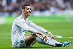 Cristiano Ronaldo of Real Madrid sits on the pitch during the La Liga 2017-18 match between Real Madrid and Sevilla FC at Santiago Bernabeu Stadium on 09 December 2017 in Madrid, Spain. Photo by Diego Souto / Power Sport Images