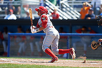 Williamsport Crosscutters shortstop Grenny Cumana (2) at bat during a game against the Batavia Muckdogs on July 16, 2015 at Dwyer Stadium in Batavia, New York.  Batavia defeated Williamsport 4-2.  (Mike Janes/Four Seam Images)