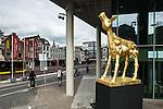 Nederland, Utrecht, 25-09-2014  Replica / beeld van het Gouden Kalf staat t.g.v. het Nederlands Film Festival ( NFF ) voor de ingang van Tivoli Vredenburg. Foto: Gerard Til / Hollandse Hoogte
