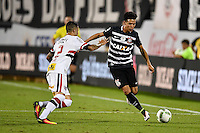 Orlando, FL - Saturday Jan. 21, 2017: Corinthians midfielder Marquinhos Gabriel (31) looks take on São Paulo midfielder Bruno (2) during the first half of the Florida Cup Championship match between São Paulo and Corinthians at Bright House Networks Stadium.