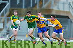 Paul O'sullivan Kerry gets to the ball ahead of Sean Collins and Thomas Downes Clare during the McGrath cup clash at Fitzgerald Stadium on Sunday