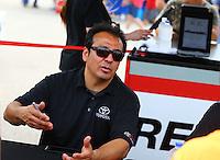 Apr 24, 2015; Baytown, TX, USA; NHRA  funny car driver Tony Pedregon during qualifying for the Spring Nationals at Royal Purple Raceway. Mandatory Credit: Mark J. Rebilas-