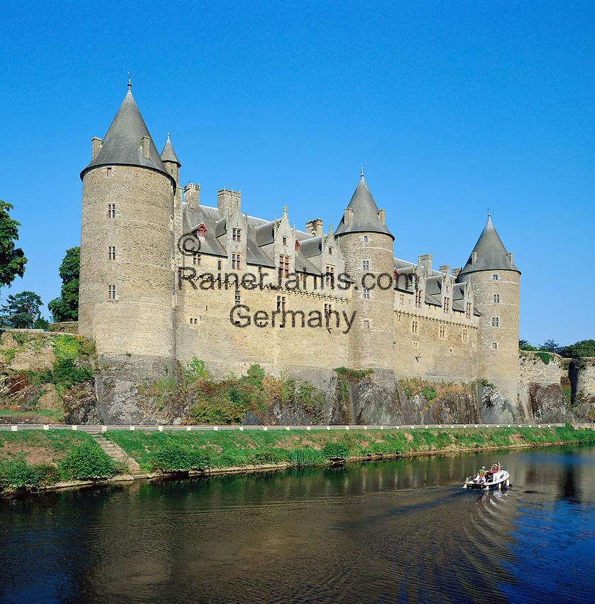 France, Brittany, Département Morbihan, Josselin: Josselin Castle at river Oust | Frankreich, Bretagne, Département Morbihan, Josselin: Château de Josselin am Fluss Oust