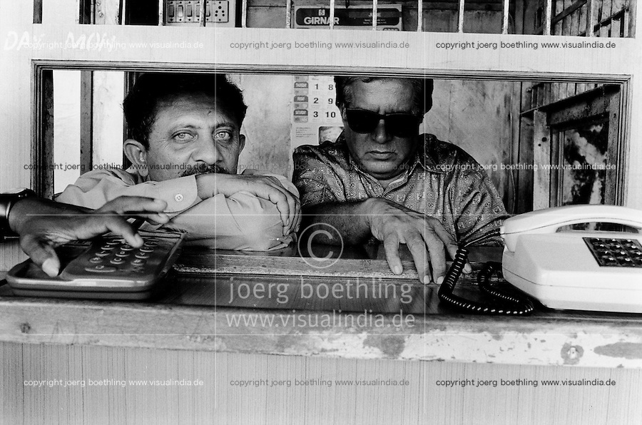 INDIA Maharashtra Mumbai Bombay, STD and ISD telephone booth with operator for trunk and international calls / INDIEN Mumbai, Telefonzelle mit Operator - copyright Joerg Boethling, Also as signed black&white fine print available.