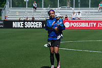 Kansas City, MO - Saturday May 13, 2017:  Sydney Leroux and son Cassius prior to a regular season National Women's Soccer League (NWSL) match between FC Kansas City and the Portland Thorns FC at Children's Mercy Victory Field.
