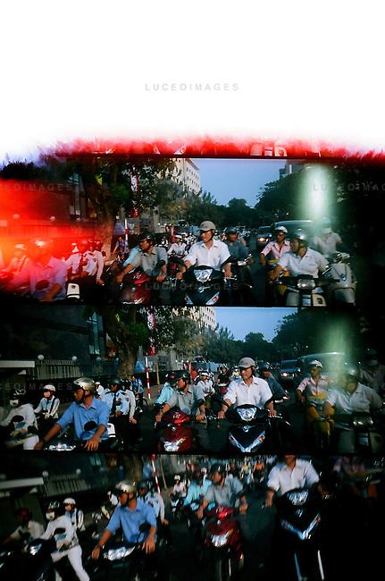 Motorbike traffic in Ho Chi Minh City, Vietnam.
