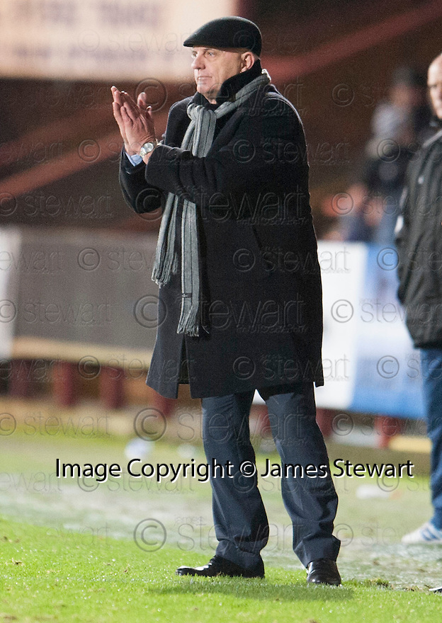 Forfar manager Dick Campbell mass his way down to the touchline in the second half.