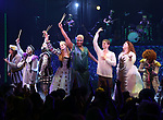Tom Alan Robbins, Alexandra Socha, Taylor Iman Jones, Jeremy Kushnier, Rachel York, Peppermint, Andrew Durand, Bonnie Milligan and cast during the Opening Night Performance Curtain Call of 'Head Over Heels' at the Hudson Theatre on July 26, 2018 in New York City.
