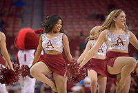 NWA Democrat-Gazette/BEN GOFF @NWABENGOFF<br /> Arkansas cheerleaders perform during a timeout<br />  on Sunday Oct. 23, 2016 during the Arkansas Red-White game at Bud Walton Arena in Fayetteiville.